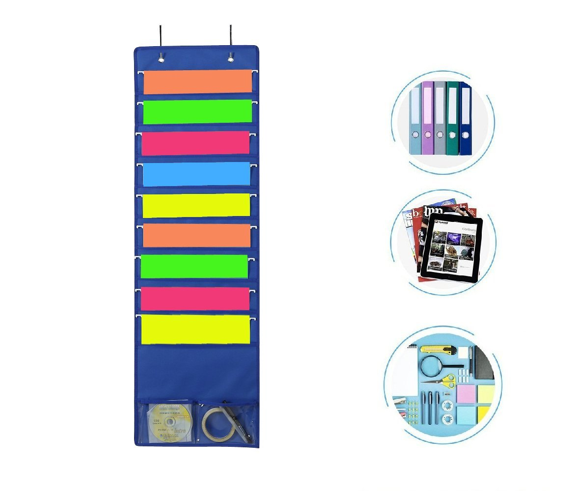 Premium Hanging File Folder Organizer, 9 Large Pockets, 2 Small Pockets, & 2 Hangers. Perfect for Home Organization, School Pocket Chart, or Office Bill Filing. Wall or Over Door Mount