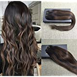 Sunny Hair Clip In Hair Extensions Remy Hair Extensions Natural Black to Chesnut Brown Highlight Black Seamless Human Hair Extensions 7pcs 120gram for Beautiful Hairstyle 16inch
