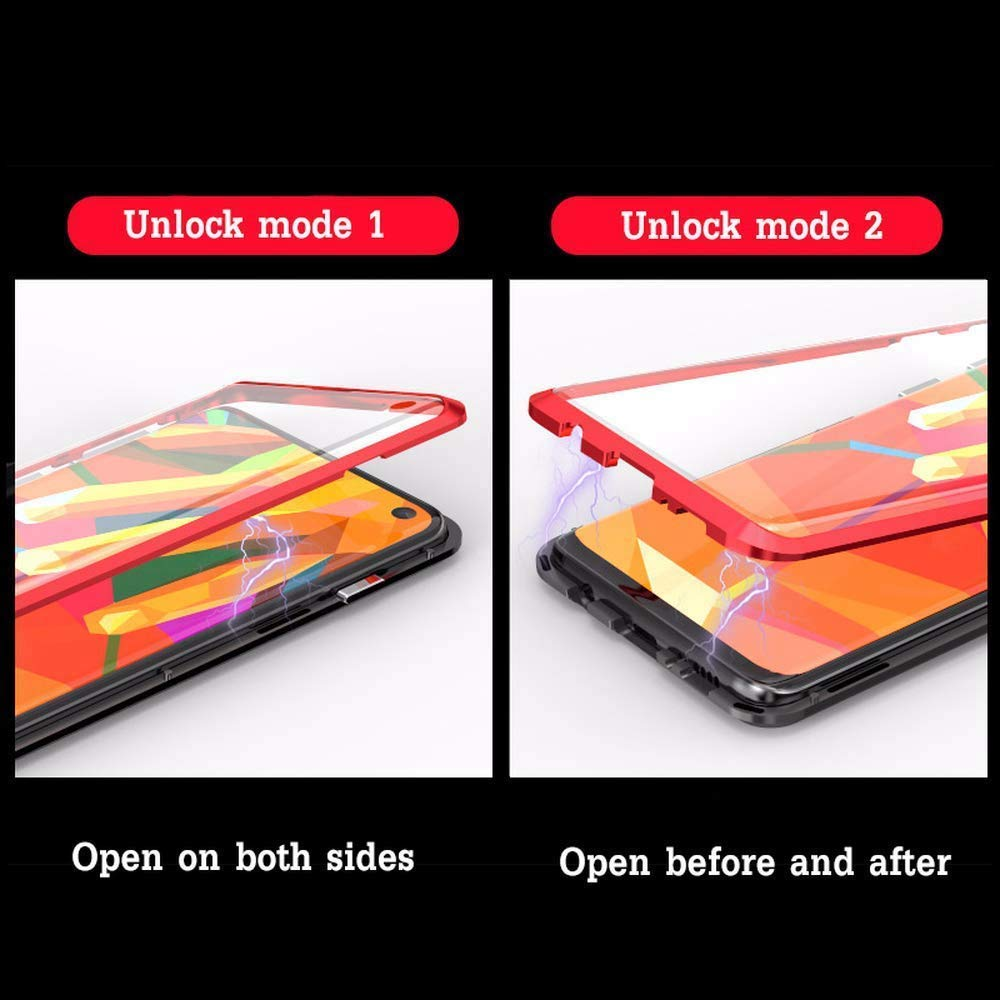 Bleu Coque Samsung Galaxy Note 10 Magn/étique Adsorption Technologie 360 Degr/és Avant et Arri/ère Verre Tremp/é /Étui Transparent Ultra Mince Aluminium M/étal Antichoc Bumper Anti Rayure