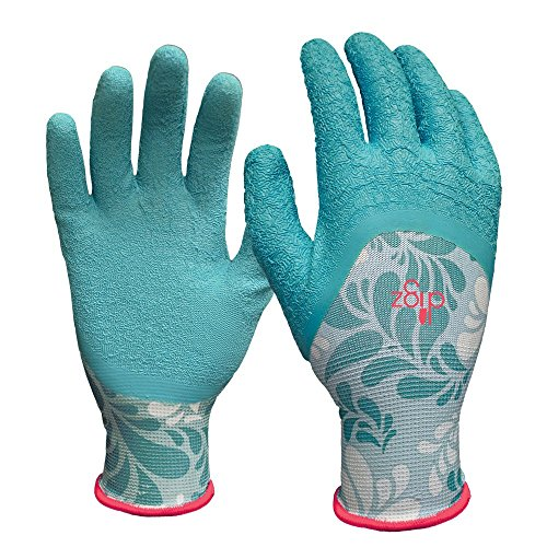DIGZ Long Cuff Stretch Knit Garden Gloves with Full Finger Latex Coating, Small