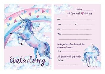 Fröhliche Und Schöne Einladungskarten Zum Kindergeburtstag Mit Einhorn /  Unicorn Motiv, Geburtstagseinladungen / Einladungen Karten
