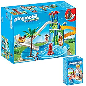 Playmobil Summer Fun Water Parc 2pcs Set 6669 6677 Water Park With Water Slide Tower Pool