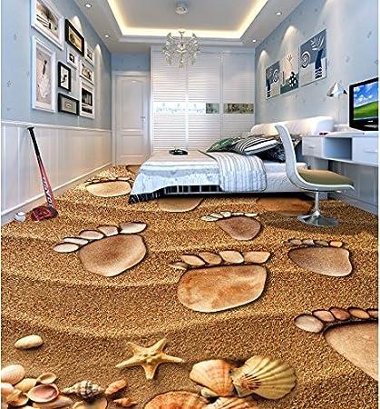 Wongxl La Spiaggia Di Pittura A Pavimento Impronte 3D Piastrelle Per ...