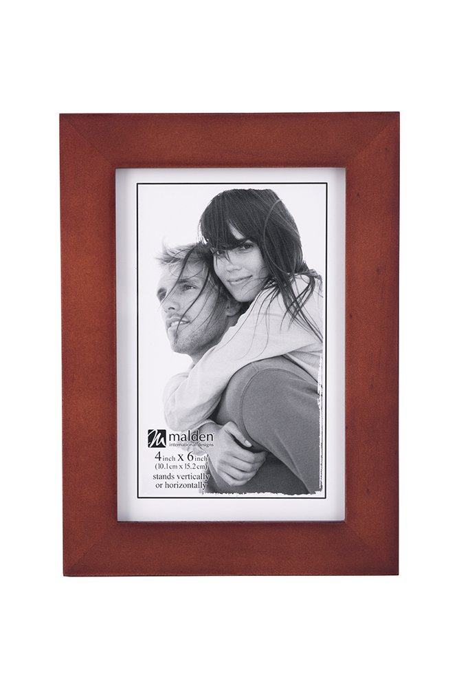 Malden 4x6 Picture Frame - Wide Real Wood Molding, Real Glass - Dark Walnut by Malden International Designs