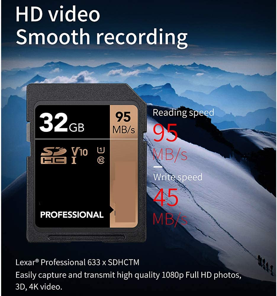 Aijin High Speed SD Card Class10 Memory Card UHS-I Flash Card Up to Max 95M Waterproof Extreme Temperature Shock Resistant for Camera,256GB