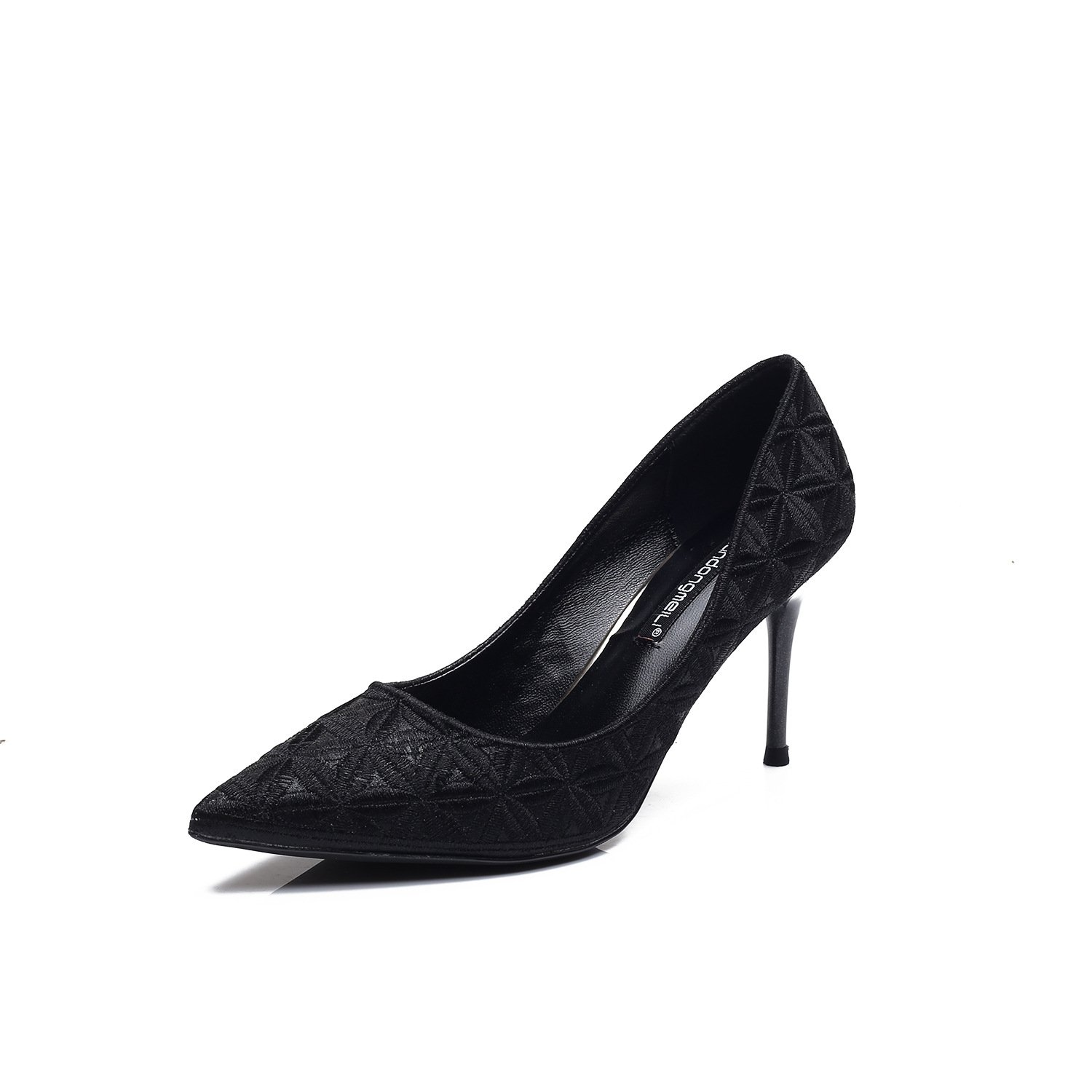 The stylish high-heel shoes in the spring of_2017 sweet, high-heeled shoes with a fine tip satin Embroidery thread single shoes female 2080-31, Black,37