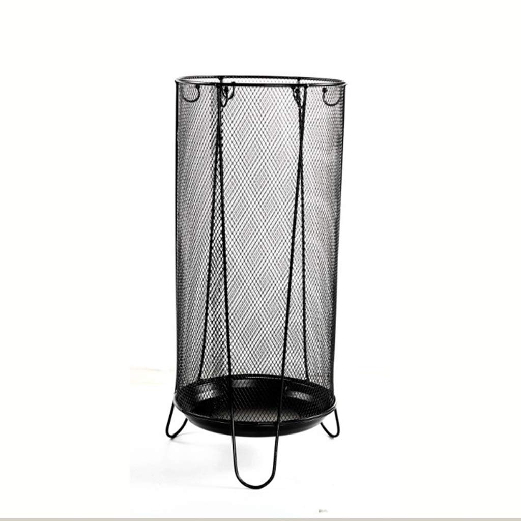 Achang Metal Umbrella Stand European Home Office Decoration Simple Storage Bucket with Hook Black 13.9x19.8x3.5in