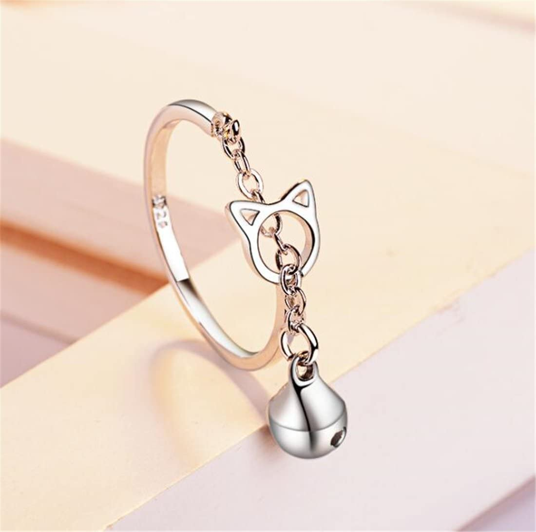 Tmrow 1pc Hollow Open Bell Cat Ring Lovely Sweet Ring