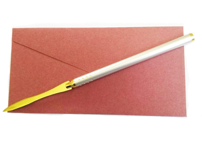 Letter Opener Envelope Slitter Envelope Opener Paper Knife (9.85 X 0.45x 0.45 Inches, Silver - Gold 02)