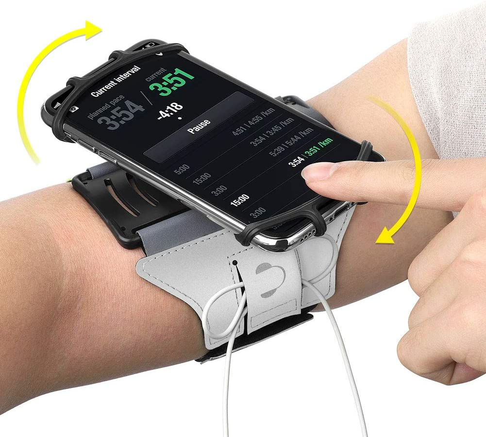 VUP Running Armband for iPhone Xs Max/XS/XR/X/6S/7/8 Plus, Galaxy S10/S9 Plus/S8/ Note 9/8/J7, LG G6/V30, Google Pixel 3/2 XL, 180 Rotatable Cell Phone Holder Arm Band for Gym Workout (Silver)