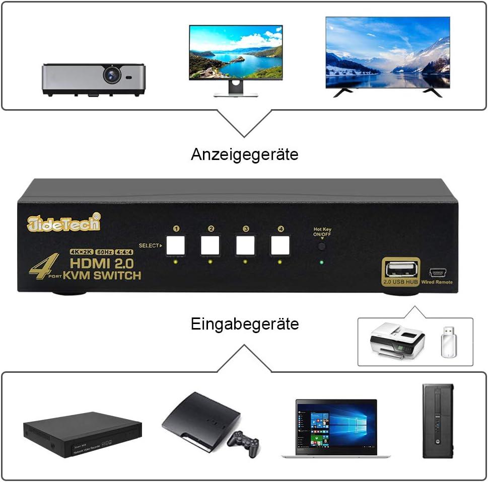 Windows Mac JideTech HDMI KVM Switch 4 Port Unterst/ützung Ultra HD 4k /× 2K bei 60 Hz Aufl/ösung mit USB 2.0 Hub-Unterst/ützung Tastatur Maus- und Kabel-Remote-Drucktastenumschaltung f/ür Linux Unix