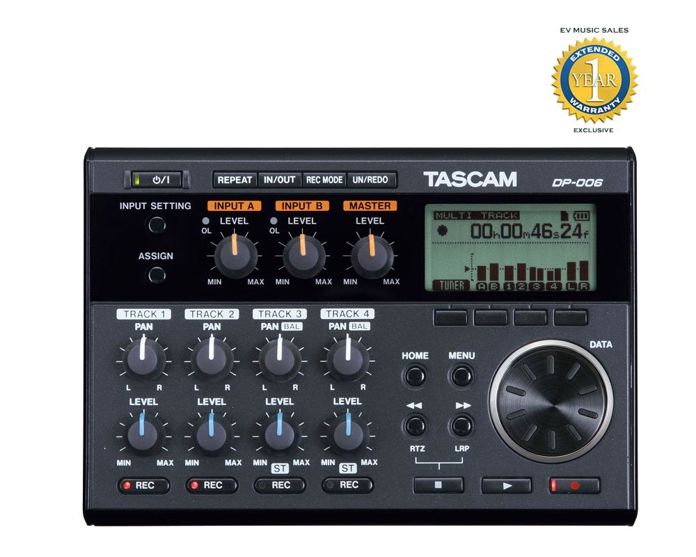 Tascam DP-006 6-Track Digital Pocketstudio with 1 Year Free Extended Warranty