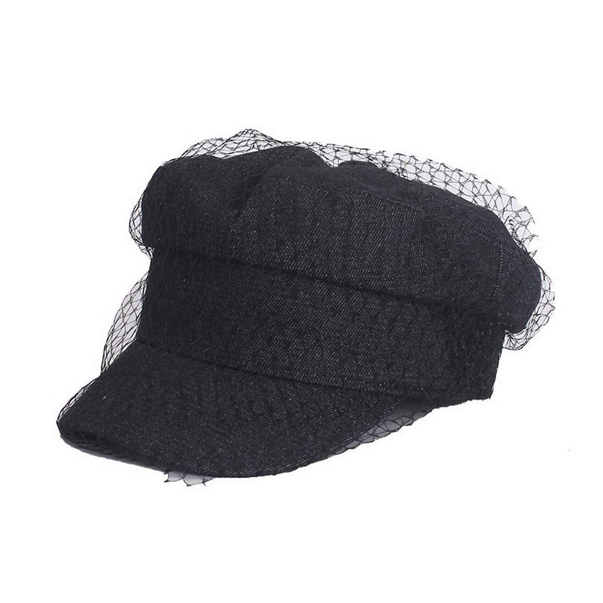 Visor Peaked Cap for Ladies Newsboy Cabbie Beret Mesh Net Veil Wedding Tea Party Baker Boy Beret-NW18009-Black