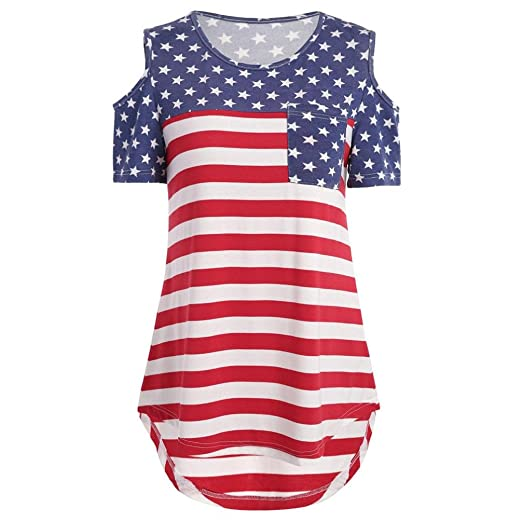 31620b7d421 Gillberry Women's Dress Women 4th July Independence Day American Flag Stars  Stripes Print Casual Loose Dress