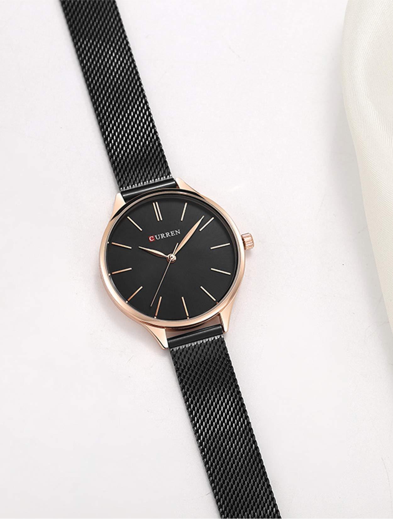 Frauen Uhr, Business Casual Wasserdicht Quarz Armbanduhr für Frau mit Schwarz Edelstahl Mesh Band