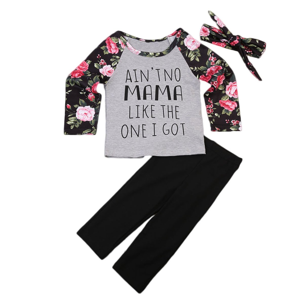 AnneBella Toddler Kids Baby Girls Outfits Floral Letters Tops T-Shirt Pant Bow Hairband Clothes