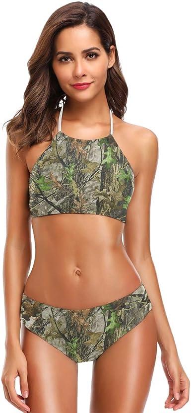 Mossy Oak Country Camo Swim Top Ruffle Halter Bikini Camouflage Swimwear