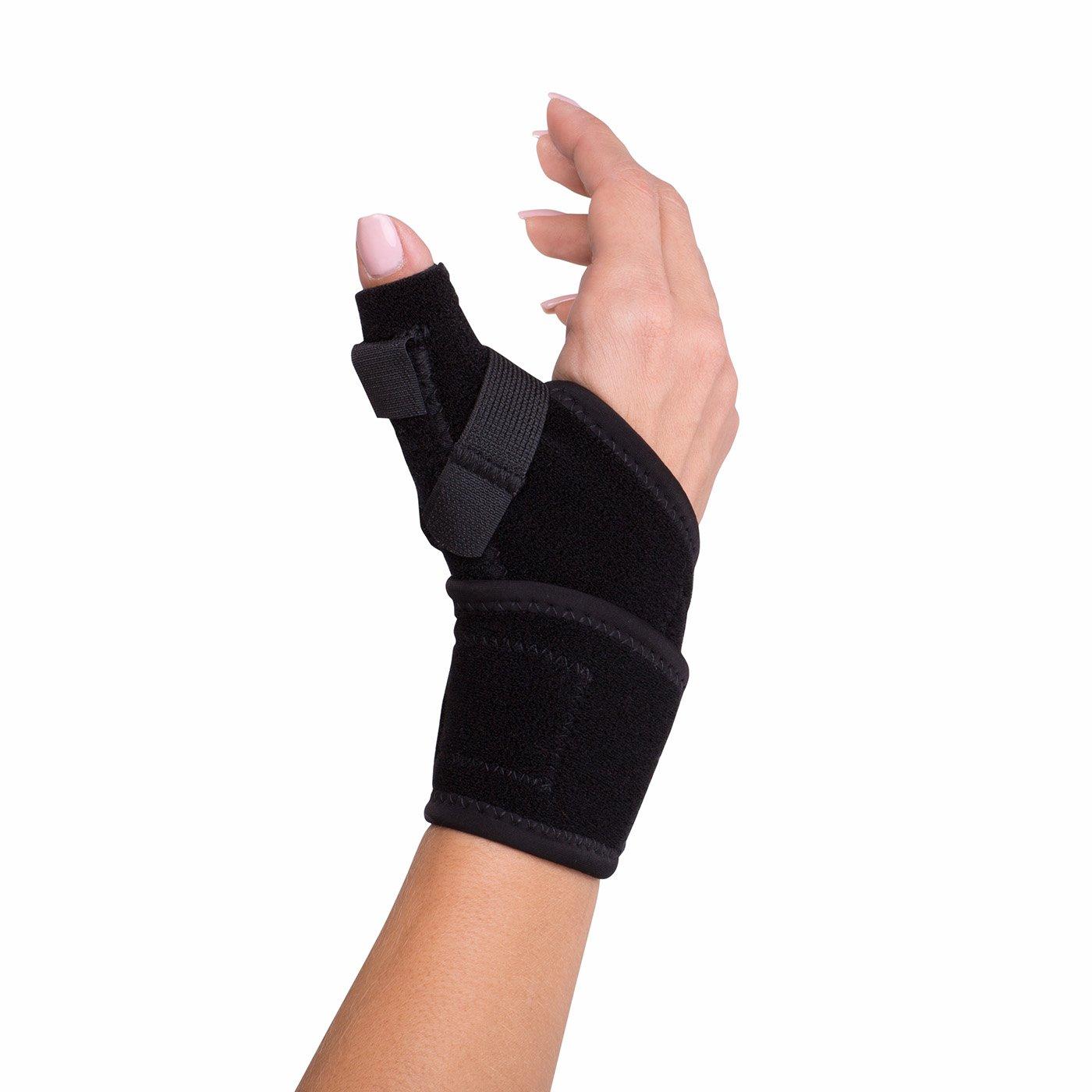 DonJoy Advantage DA161TB01-BLK Wrap Around Stabilizing Thumb Splint, Black, Adjustable, Fits 5.5'' to 9.5'', Best for Tendonitis, Arthritis, Instability by DonJoy Advantage (Image #1)