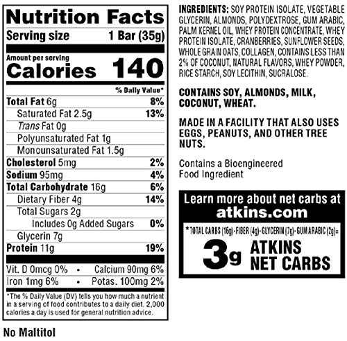 Atkins Snack Bar, Cranberry Almond, 5 Count 3