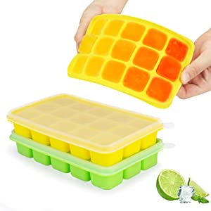 Ice Cube Trays - JOYSON 2 Pack Silicone Ice Trays with Removable Lid 15 Ice Trays Food Grade Reusable and BPA Free Ice Cube Molds for Beverages, Whiskey Storage, Cocktail (Yellow+Green)