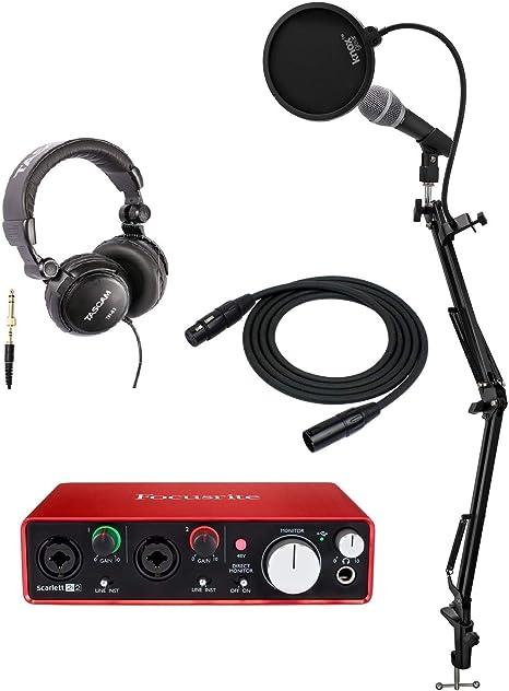 Focusrite Scarlett 2i2 Interfaz de audio USB (2nd Gen) + micrófono, auriculares, Knox Studio Stand, Pop Filter y cable XLR: Amazon.es: Instrumentos musicales
