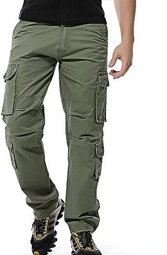 LANBAOSI Pantalon Cargo en Coton Militaire