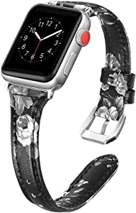 Secbolt Leather Bands Compatible Apple Watch Band 38mm 40mm Iwatch Series 6 5 4 3 2 1 SE Slim Replacement Wristband Strap Stainless Steel Buckle, Black/Gray Floral