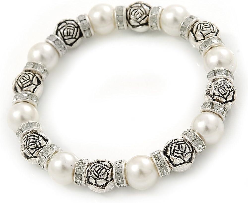 Perlas de imitación, forma Color de rosa de tono de plata cuentas, anillos de cristal pulsera del estiramiento - 18 cm L
