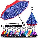 Fidus Double Layer Inverted Reverse Umbrella, Winproof Waterproof Folding UV Protection Self Stand Upside Down Large Car Rain Golf Outdoor Rain Umbrella with C-Shaped Handle for Men Women(Dot Blue)