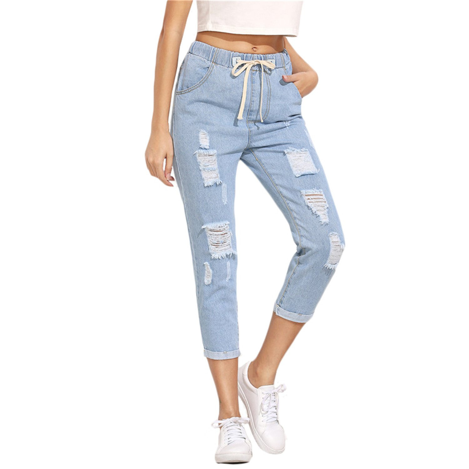 Miki Da Women Summer Pants Casual Trousers For Ladies Blue Ripped Mid Waist Drawstring Skinny Denim Calf Length Jeans