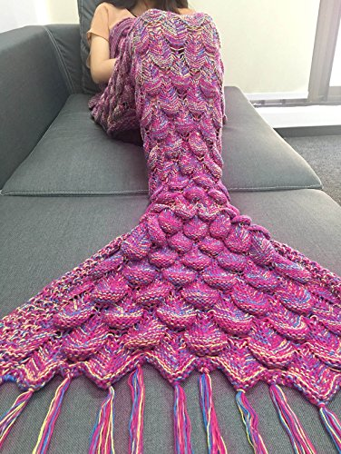 iEFiEL Fashion Mermaid Tail Beach Camping Sleeping Bags Living Room Blanket for Kids and Adult Handcrafted Gift Adult Hot Pink Scale