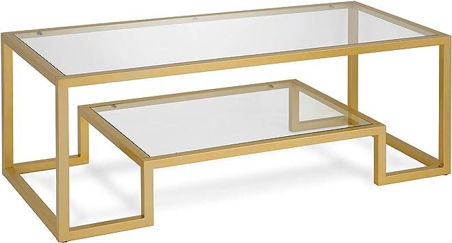 Amazon Com Henn Hart Modern Geometric Inspired Glass Coffee Table One Size Gold Furniture Decor