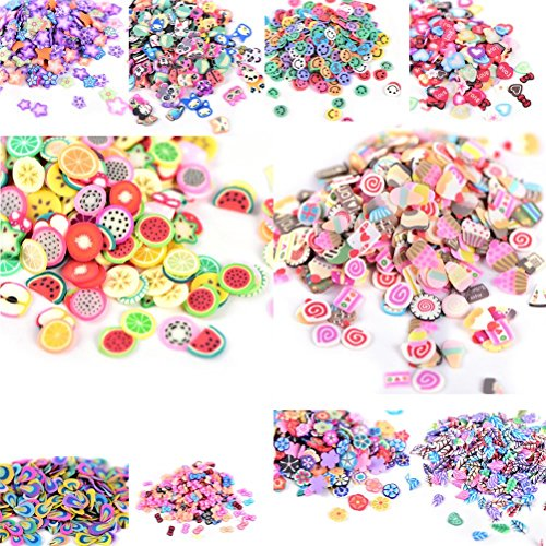 2500pcs Nail Art Soft Ceramics 3D Pattern Slices Fimo Nail Slices Cellphone Decoration, Assorted Color, Assorted Patterns