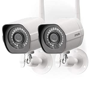 Zmodo Wireless Security Camera System (2 Pack), Smart Home HD Indoor Outdoor WiFi IP Cameras with Night Vision, Cloud Service Available