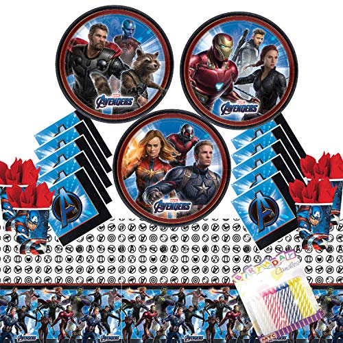 (Avengers Endgame Party Supplies Pack Serves 16: Dessert Plates Luncheon Napkins Cups and Table Cover with Birthday Candles (Bundle for)