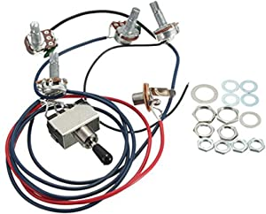 LP Electric Guitar Wiring Harness Kit Replacement, 2T2V 3 Way Toggle Switch 500K Pots&Jack for Dual Humbucker Gibson Les Pual Style Guitar, Black Tip