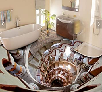 3 D suelo personalizado impermeable escalera apoyabrazos abajo canal 3D baño foto adorno 3D murales de pared papel tapiz para paredes,300X210cm: Amazon.es: Bricolaje y herramientas
