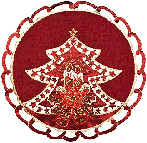 Linens, Art and Things Embroidered Burgundy Christmas Tree, Candles, Bells, Poinsettia Doily Place Mat Small Tablecloth 16 Inch Round
