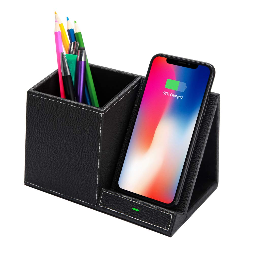 Brilliest 10W Fast Wireless Charger - Black Desk Organizer - Wireless Charging Stand - Leather - Pencil Holder - Compatible with Samsung/iPhone/Multiple Devices - Qi Certified - Modern