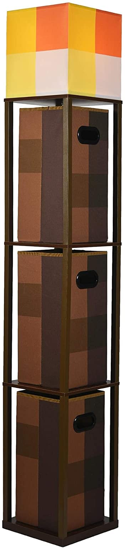 Minecraft Brownstone Torch 5-Foot Standing Floor Lamp and Storage Unit | Includes 3 Cube Organizer Storage Bins