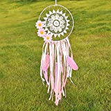 Handmade Indian Real Feathers Dream Catcher Wall Hanging Car Hanging Decoration Ornament gift ( Pink flowers)