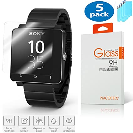 5X Sony Smart Watch 2 / SW2 Tempered Glass, [5 Pack] Nacodex for Sony Smart Wacth 2 / Sony SW2 Premium Tempered Glass Screen Protector, 9H, HD, 0.3mm