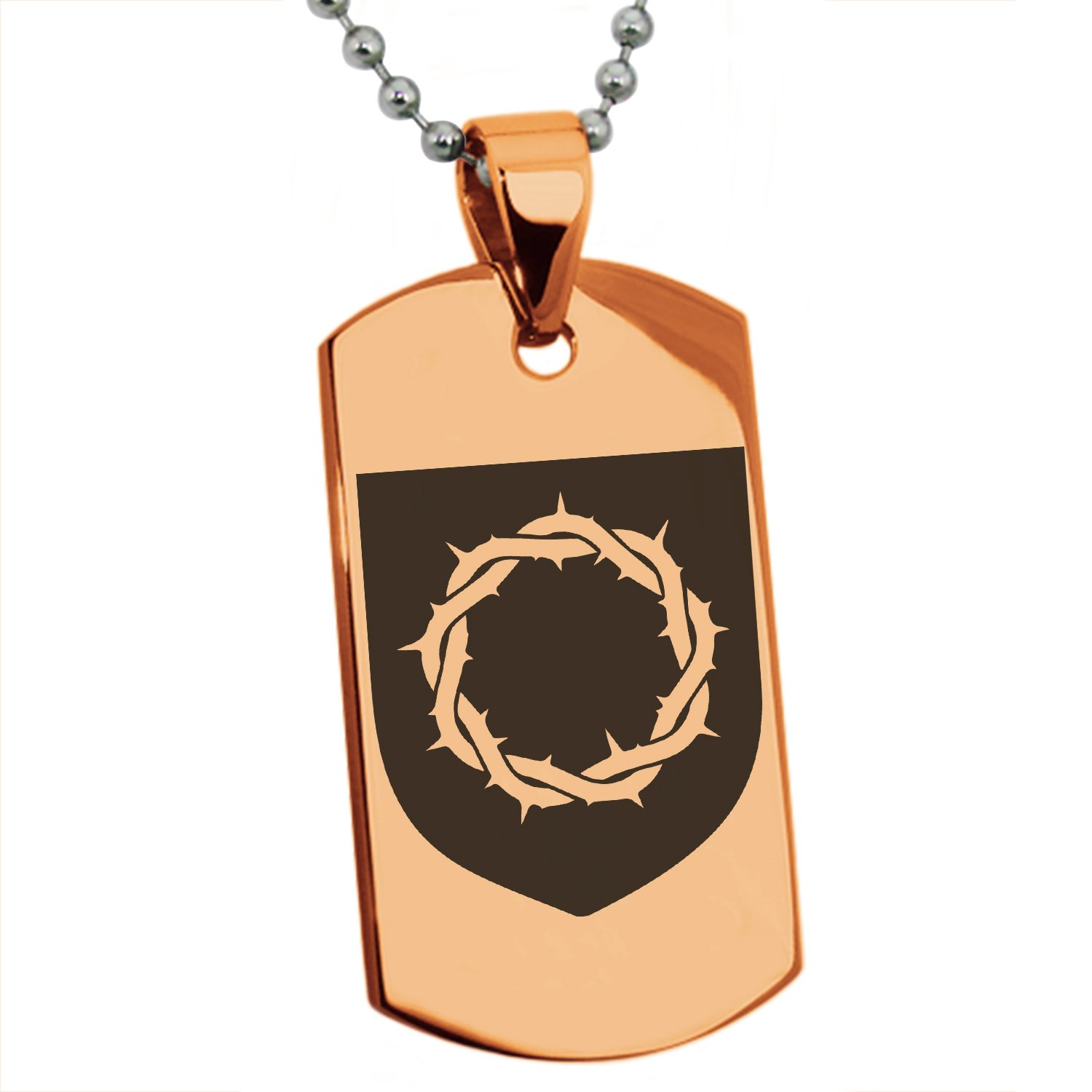 Tioneer Rose Gold Stainless Steel Crown of Thorns Adversity Coat of Arms Shield Symbol Engraved Dog Tag Pendant Necklace