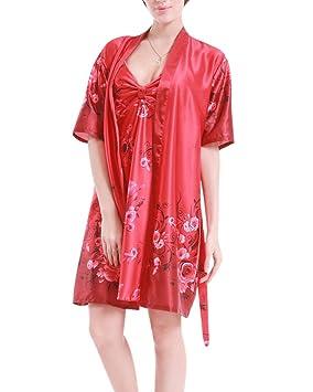 SaiDeng Mujer Casual Pijamas Batas De Seda En Satín Manga Corta Conjuntos De Bata Pijamas: Amazon.es: Deportes y aire libre