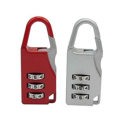 2X Mini Candado Combinación 3 Dígitos para Viaje Equipaje Maleta Bolsa Seguridad