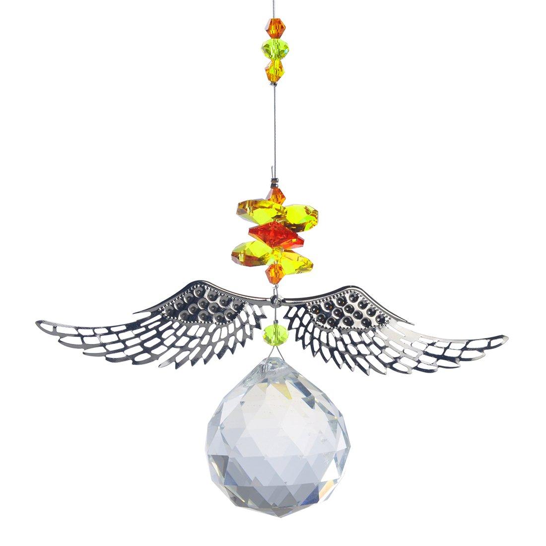 H&D 40 mm Handmade Angle Wings Crystal Ball Prism Rainbow Maker Hanging Suncatcher Home Wedding Decoration