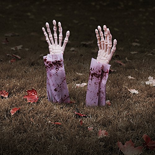 Halloween Zombie Hands Arms, Skeleton Stakes Lawn Stakes, Bloodied Scary Zombie Fingers Graveyard Prop Decoration Halloween Décor for Outdoor/Yard/Patio, (Props For Halloween Graveyard)