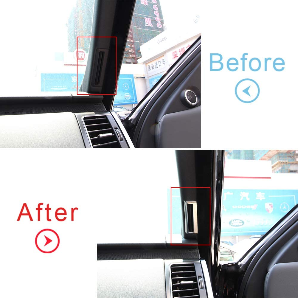 CHEYA 2pcs//Set ABS Matte Front A Pillar Air Conditioning Vent Trim Stickers for Land Rover Range Rover Sport Vogue 2014-2017