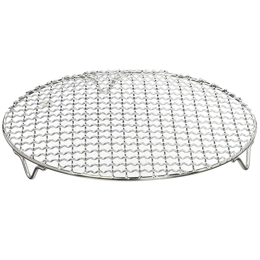 1Pack Multi-Purpose Round Stainless Steel Cross Wire Steaming Cooling Barbecue Rack/Carbon Baking Net/Grill /Pan Grate with Legs(8.25Inch Dia)