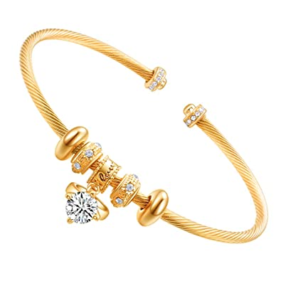 6bffcc591e474 E 18K Gold Plated Lucky Beads Charms Cuff Bracelets with CZ Ring, Seeking  True Love, Bring Good Luck, Love Engraved Bangles for Women Open Adjustable